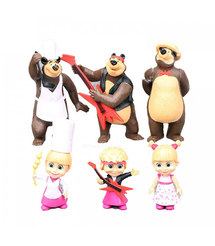 مجموعه 6 عددی فیگورهای ماشا و میشا (ماشا و خرسه) - Masha and Bear