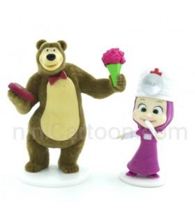 ست فیگور دو تایی - ماشا پرستار و خرس گل و قلب دار