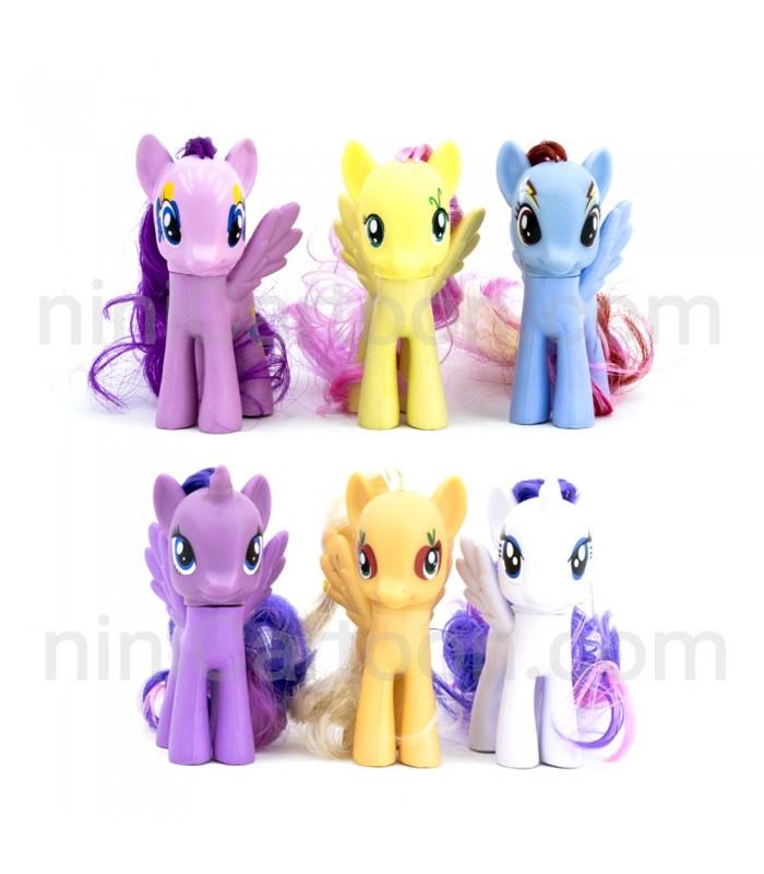 مجموعه 6 تایی فیگورهای پونی - مو افشان - My Little Pony