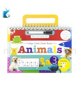 کتاب تمرین نوشتن و نقاشی ساده از روی حیوانات به همراه ماژیک - Wipe Clean Easel Book - Animals